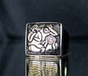 Picture of 21 x SQUARE BRONZE SIGNET RINGS WITH 3 MONKEYS NO TALK NO SEE NO SPEAK WHOLESALE-LOT