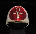 Picture of 21 x BRONZE RINGS WITH SMALL EGYPT ANKH SYMBOL OF LIFE DARK RED WHOLESALE-LOT