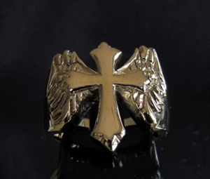 Picture of 21 x BRONZE RINGS FLYING CROSS WITH WINGS HIGH POLISHED WHOLESALE-LOT
