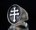 Picture of 21 x OVAL STERLING SILVER SIGNET RINGS CROSS LORRAINE FLAT ANTIQUED MAGNUM P.I. WHOLESALE-LOT