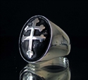 Picture of 21 x OVAL STERLING SILVER SIGNET RINGS CROSS LORRAINE DOMED ANTIQUED MAGNUM P.I. WHOLESALE-LOT