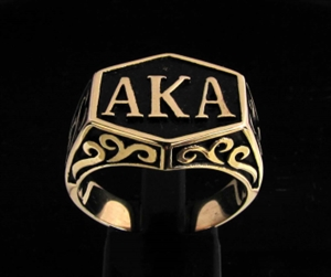 """Picture of 21 x BRONZE MEN'S INITIAL RINGS """" A K A """" ALSO KNOWN AS PSEUDONYM WHOLESALE-LOT"""