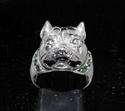 Picture of 21 x STERLING SILVER RINGS PITBULL WITH EMERALD GREEN CZ COLLAR WHOLESALE-LOT
