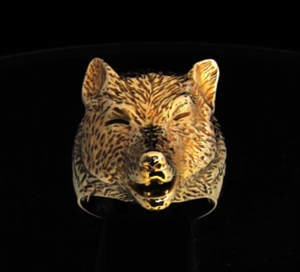 Picture of 21 x BRONZE ANIMAL RINGS WITH A HOWLING WOLF WHOLESALE-LOT