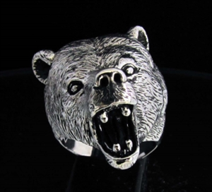 Picture of 21 x HUGE STERLING SILVER ROARING GRIZZLY BEAR RING WHOLESALE-LOT