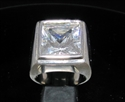 Picture of 21 x SQUARE STERLING SILVER MEN'S RINGS WITH HUGE PRINCESS CUT CZ WHOLESALE-LOT