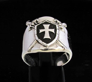 Picture of 21 x STERLING SILVER KNIGHT RINGS CROSSED SWORDS BEHIND TEMPLAR SHIELD BLACK WHOLESALE-LOT