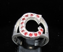 "Picture of 21 x STERLING SILVER RINGS ONE 1 BLOCK LETTER INITIAL ""C"" WITH 12 RED CZ'S WHOLESALE-LOT"