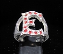 "Picture of 21 x STERLING SILVER RINGS ONE 1 BLOCK LETTER INITIAL ""E"" WITH 12 RED CZ'S WHOLESALE-LOT"
