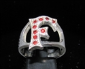 "Picture of 21 x STERLING SILVER RINGS ONE 1 BLOCK LETTER INITIAL ""F"" WITH 9 RED CZ'S WHOLESALE-LOT"