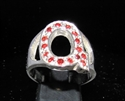 "Picture of 21 x STERLING SILVER RINGS ONE 1 BLOCK LETTER INITIAL ""Q"" WITH 15 RED CZ'S WHOLESALE-LOT"