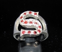 "Picture of 21 x STERLING SILVER RINGS ONE 1 BLOCK LETTER INITIAL ""S"" WITH 13 RED CZ'S WHOLESALE-LOT"
