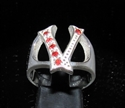 "Picture of 21 x STERLING SILVER RINGS ONE 1 BLOCK LETTER INITIAL ""V"" WITH 6 RED CZ'S WHOLESALE-LOT"