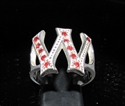 "Picture of 21 x STERLING SILVER RINGS ONE 1 BLOCK LETTER INITIAL ""W"" WITH 11 RED CZ'S WHOLESALE-LOT"