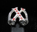 "Picture of 21 x STERLING SILVER RINGS ONE 1 BLOCK LETTER INITIAL ""X"" WITH 7 RED CZ'S WHOLESALE-LOT"