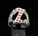 "Picture of 21 x STERLING SILVER RINGS ONE 1 BLOCK LETTER INITIAL ""Z"" WITH 10 RED CZ'S WHOLESALE-LOT"