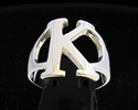 Picture of 21 x GREEK CAPITAL LETTER STERLING SILVER RINGS INITIAL KAPPA SYMBOL WHOLESALE-LOT