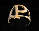 Picture of 21 x GREEK CAPITAL LETTER BRONZE RINGS INITIAL RHO SYMBOL WHOLESALE-LOT