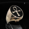 Picture of 21 x OVAL BRONZE MEN'S SIGNET RINGS WITH EGYPTIAN ANKH CROSS SYMBOL BLACK WHOLESALE-LOT