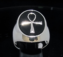 Picture of 21 x OVAL STERLING SILVER MEN'S SIGNET RINGS WITH EGYPTIAN ANKH CROSS SYMBOL BLACK WHOLESALE-LOT