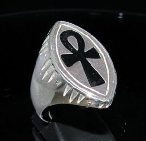 Picture of 21 x MARQUISE SHAPED STERLING SILVER MEN'S SIGNET RINGS EGYPTIAN ANKH CROSS SYMBOL BLACK WHOLESALE-LOT