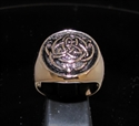 Picture of 21 x ROUND DOMED BRONZE MEN'S SIGNET RINGS CELTIC INFINITY KNOT TRISKELE ANTIQUED WHOLESALE-LOT