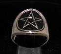 Picture of 21 x BRONZE RINGS WITH PENTAGRAM PENTACLE SYMBOL BLACK WHOLESALE-LOT