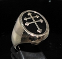 Picture of 21 x BRONZE MEN'S SIGNET RINGS WITH FRAMED CROSS LORRAINE SYMBOL BLACK WHOLESALE-LOT