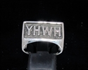 Picture of 21 x RECTANGLE STERLING SILVER MEN'S RINGS HEBREW GOD YHWH ANTIQUED WHOLESALE-LOT