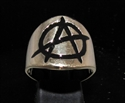 Picture of 21 x BRONZE MEN'S RINGS WITH ANARCHY PUNK SYMBOL BLACK WHOLESALE-LOT
