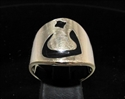 Picture of 21 x BRONZE MEN'S RINGS ARABIC LETTER NOON NUN NUUN BLACK ENAMEL INLAY WHOLESALE-LOT