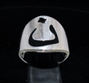Picture of 21 x STERLING SILVER MEN'S RINGS ARABIC LETTER NOON NUN NUUN BLACK ENAMEL INLAY WHOLESALE-LOT