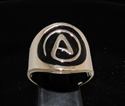 Picture of 21 x BRONZE MEN'S RINGS ATHEIST NON BELIEVE SYMBOL ATHEISM BLACK WHOLESALE-LOT