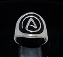 Picture of 21 x STERLING SILVER MEN'S RINGS ATHEIST NON BELIEVE SYMBOL ATHEISM BLACK WHOLESALE-LOT