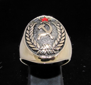 Picture of 21 x BRONZE MEN'S CREST RINGS HAMMER AND SICKLE RED STAR COMMUNIST WHOLESALE-LOT