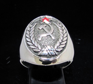 Picture of 21 x STERLING SILVER MEN'S CREST RINGS HAMMER AND SICKLE RED STAR COMMUNIST WHOLESALE-LOT