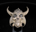 Picture of 21 x BRONZE MEN'S RINGS VIKING SKULL WARRIOR WITH LONG HORNS ANTIQUED WHOLESALE-LOT