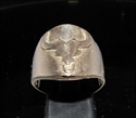 Picture of 21 x ROUND BRONZE ZODIAC MEN'S RINGS STAR SIGN TAURUS SYMBOL HIGH POLISHED WHOLESALE-LOT