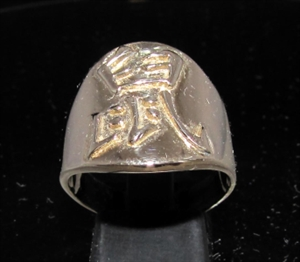 Picture of 21 x BRONZE ZODIAC MEN'S RINGS CHINESE LETTER RAT SYMBOL HIGH POLISHED WHOLESALE-LOT