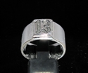 Picture of 21 x STERLING SILVER MEN'S BIKER BAND RINGS SQUARE SOCKET LUCKY NUMBER 13 ANTIQUED WHOLESALE-LOT