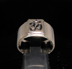 Picture of 21 x BRONZE MEN'S BUDDHISM BAND RINGS SQUARE SOCKET AUM OHM OM SYMBOL ANTIQUED WHOLESALE-LOT