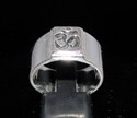Picture of 21 x STERLING SILVER MEN'S BUDDHISM BAND RINGS SQUARE SOCKET AUM OHM OM SYMBOL ANTIQUED WHOLESALE-LOT