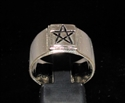 Picture of 21 x BRONZE MEN'S GOTHIC BAND RINGS SQUARE SOCKET PENTAGRAM STAR ANTIQUED WHOLESALE-LOT