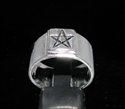 Picture of 21 x STERLING SILVER MEN'S GOTHIC BAND RINGS SQUARE SOCKET PENTAGRAM STAR ANTIQUED WHOLESALE-LOT