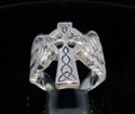 Picture of 21 x STERLING SILVER MEN'S STATEMENT RINGS WINGED CELTIC CROSS ANTIQUED WHOLESALE-LOT