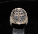 Picture of 21 x BRONZE MEN'S SIGNET PI RINGS FRAMED CROSS LORRAINE ANTIQUED WHOLESALE-LOT