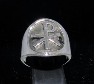Picture of 21 x ROUND STERLING SILVER MEN'S BAND RINGS CHRISTIAN MONOGRAM CHI RHO X P ANTIQUED WHOLESALE-LOT