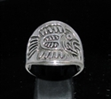 Picture of 21 x ROUND STERLING SILVER MEN'S BAND RINGS MAYA FISH SYMBOL INCA ANTIQUED WHOLESALE-LOT