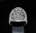 Picture of 21 x ROUND STERLING SILVER MEN'S BAND RINGS MAYA CALENDAR SYMBOL INCA ANTIQUED WHOLESALE-LOT