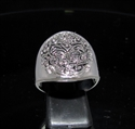 Picture of 21 x STUNNING STERLING SILVER MEN'S BAND RINGS WITH AN ORNAMENTAL INCA FACE ANTIQUED WHOLESALE-LOT